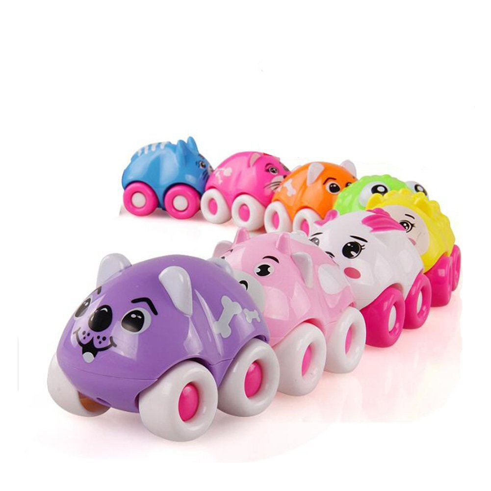 NOQ Mini Magnetic Cartoon Cart/8 Lovely Animal Magnetic Car/Children's Small Toys