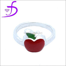 925 Ring Sterling Silver jewelry new fashion 2014 enamel apple ring