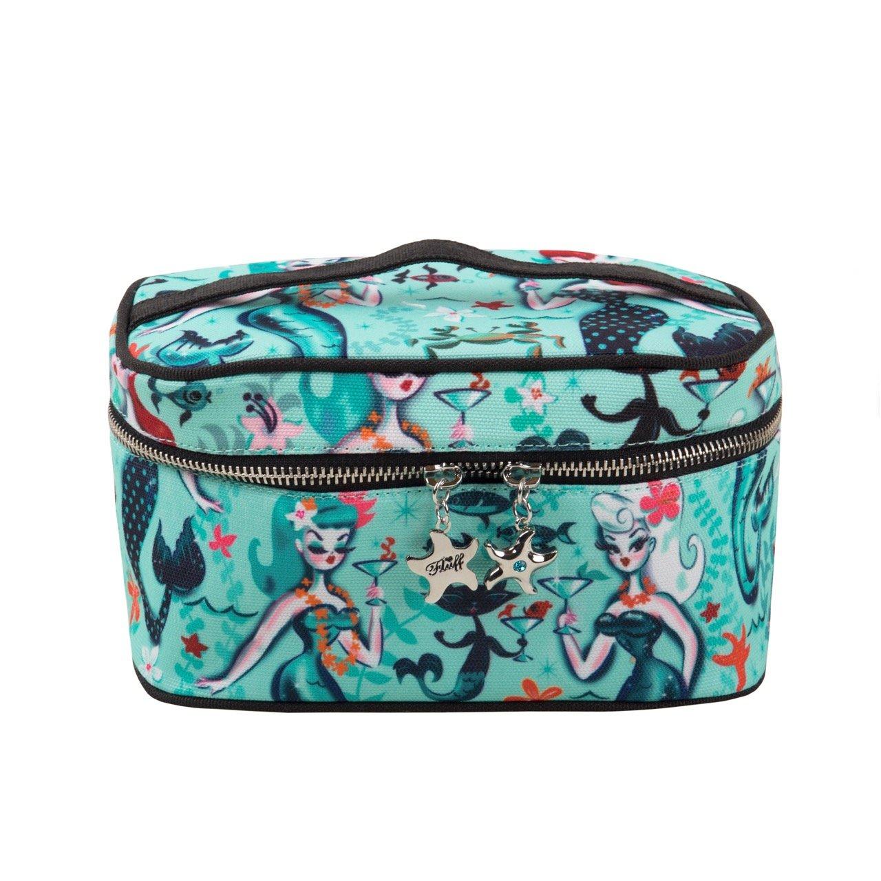 "d208d54ee51e Large Cosmetic Zipper Makeup Bag Train Case with Retro Boudoir ""Martini  Mermaid"" Pattern -"