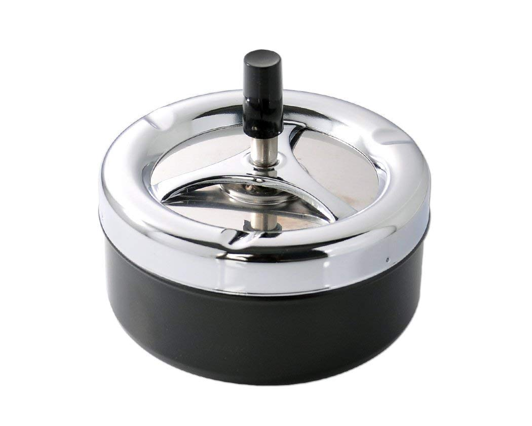 Ashtray,Xiaoai Round Push Down Ashtray with Spinning Tray Cigarette Ash Holder with lid for Smokers, Desktop Smoking for Indoor Outdoor Garden Patio Bar KTV Home Office Decoration