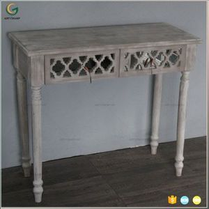 wood carved console dressing table