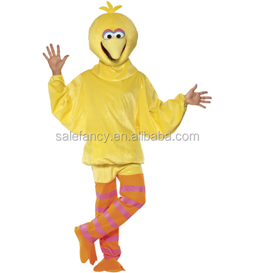 yellow color mens sesame street big bird fancy dress halloween men costume QAMC-9150