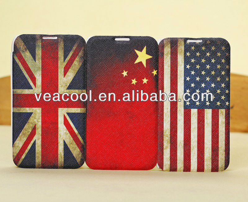Retro Old Flag Flip PU Leather Case Cover Skin for Samsung Galaxy Note 2 N7100 i9220 Case