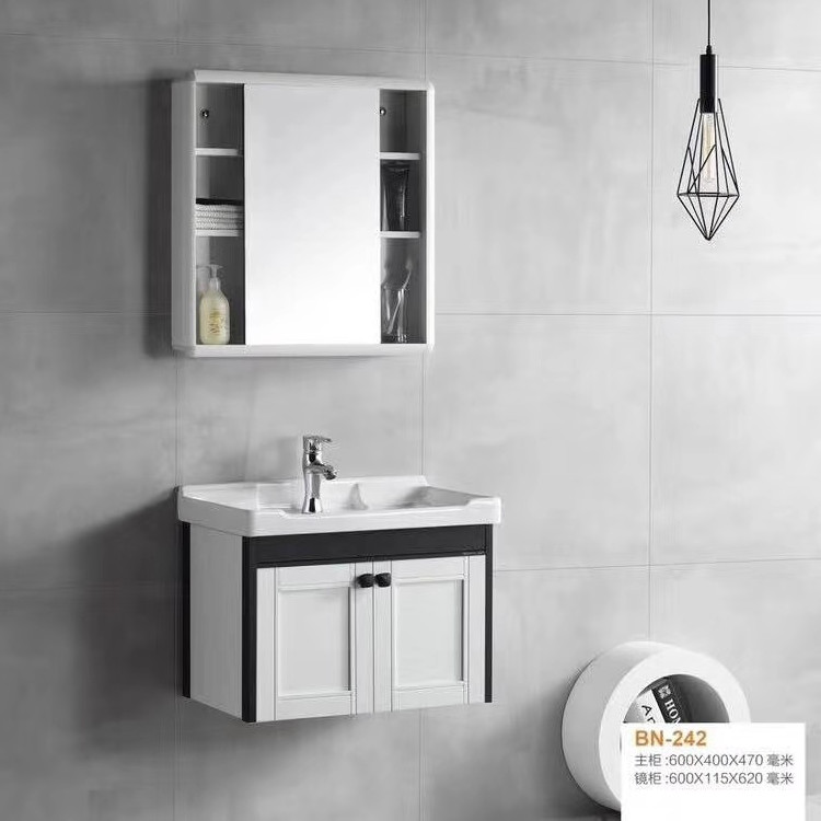 New bathroom cabinet space aluminum master cabinet with ceramic white washbasin