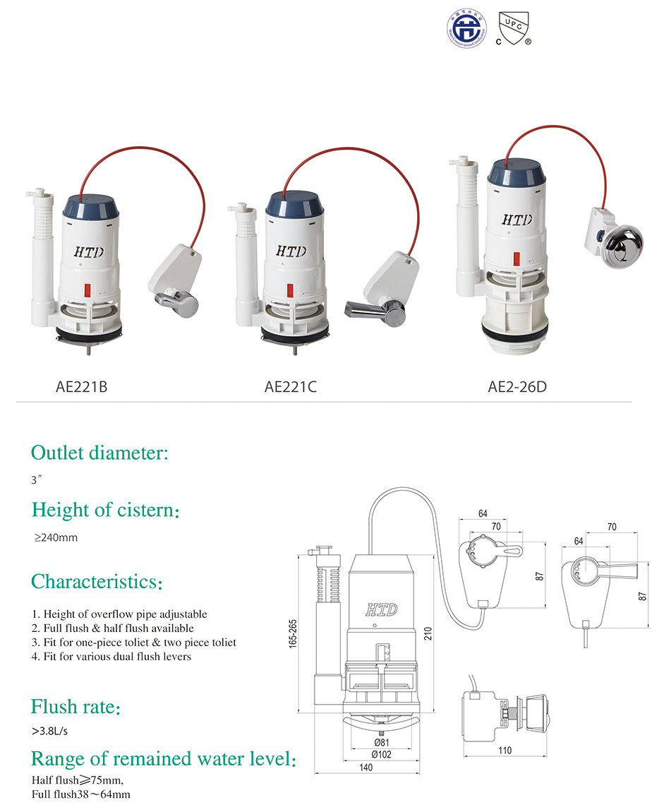 Certificated toilet tank fittng ABS toilet mechanical flush valve