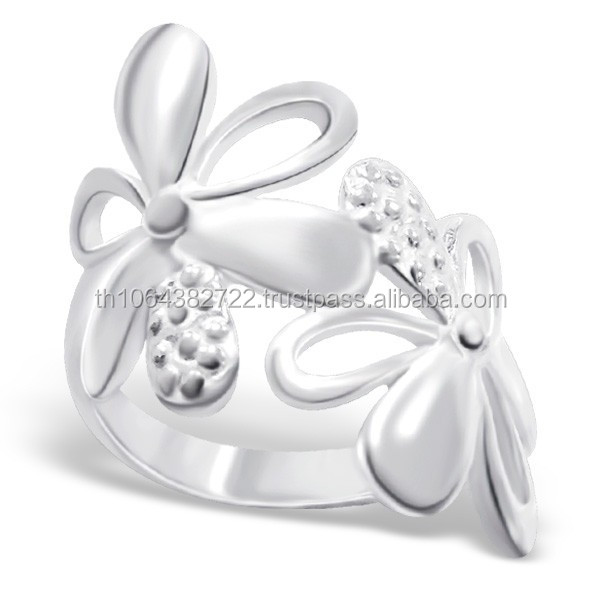 Big Flower Wrap Plain Sterling Silver Finger Ring Wholesale Silver Manufacturer Products