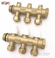 copper underfloor distribution Pipe manifold HVAC collector water heating system with brass balancing valve factory price yuhuan