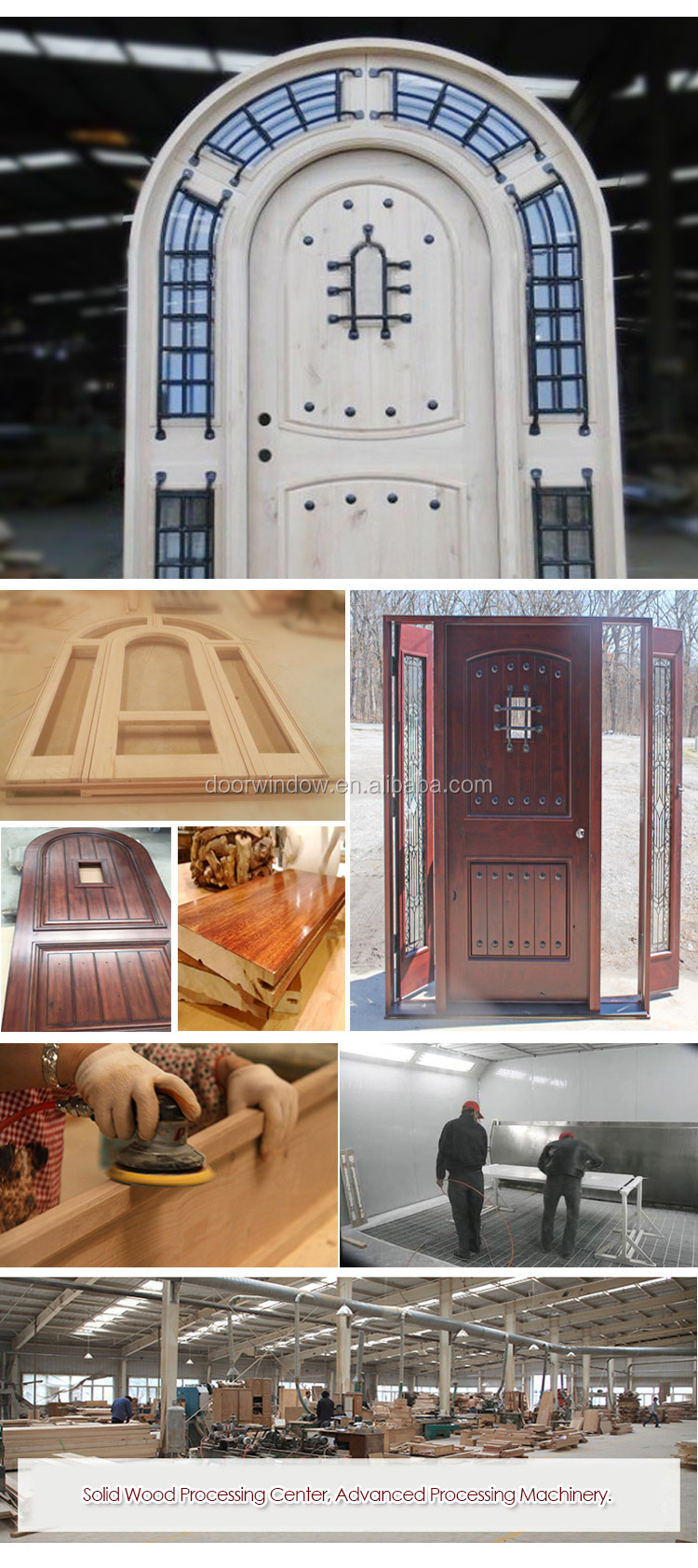 Church gate style design exterior wood front doors with top carving glass entry door with side lite rustic door