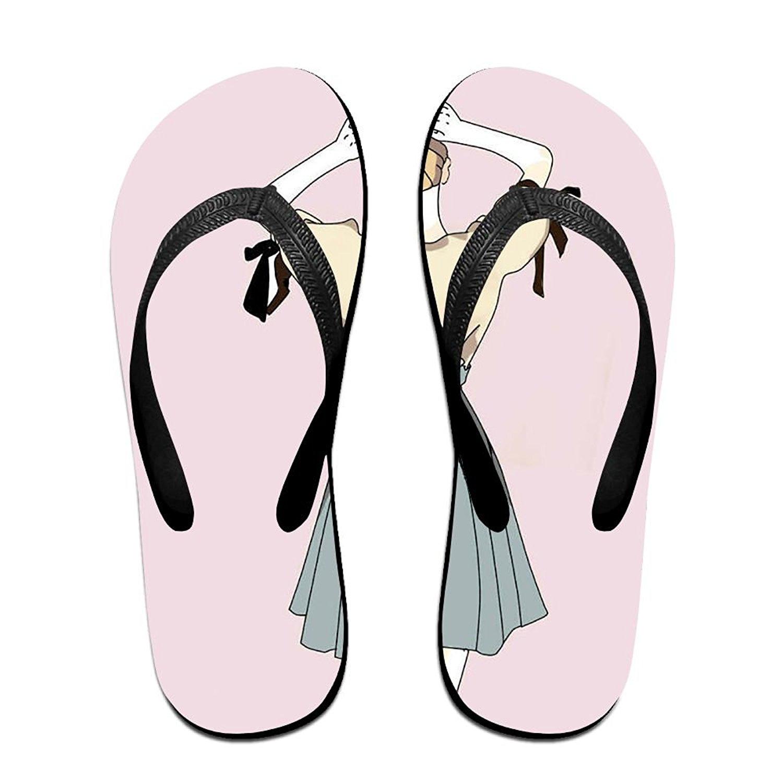 Unisex Summer Beach Slippers Funny Girl Love Panda Flip-Flop Flat Home Thong Sandal Shoes
