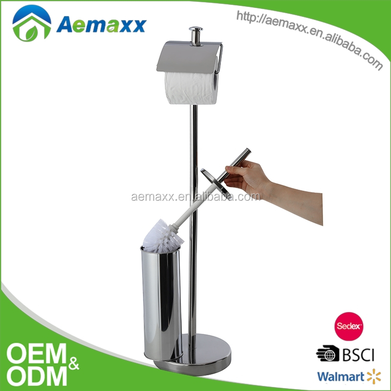 Wonderful awesome design stainless steel standing Toilet Brush and Paper Holder