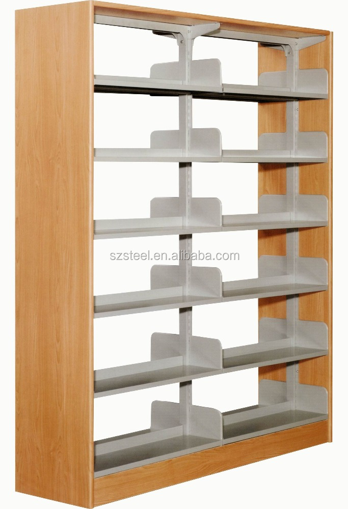 Double Sided Shelving School Bookshelves Clic Bookshelf For Library Magazine Shelf With Side