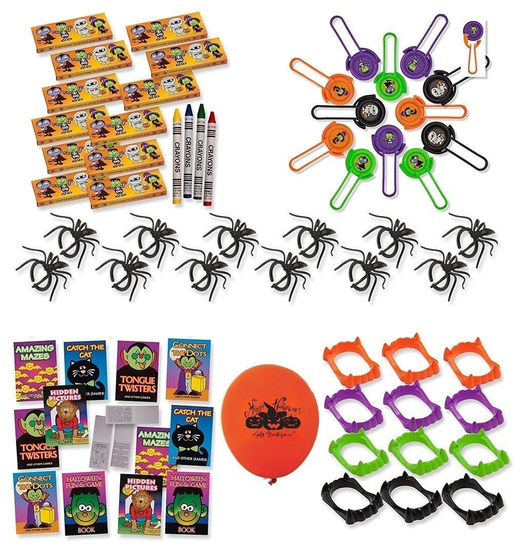 84 Piece Mega Halloween Toy Novelty Assortment; 12 Halloween Disc Shooters, 12 Halloween Crayons, 12 Vampire Teeth, 12 Halloween Fun & Games Books & 36 Plastic Spider Rings!!