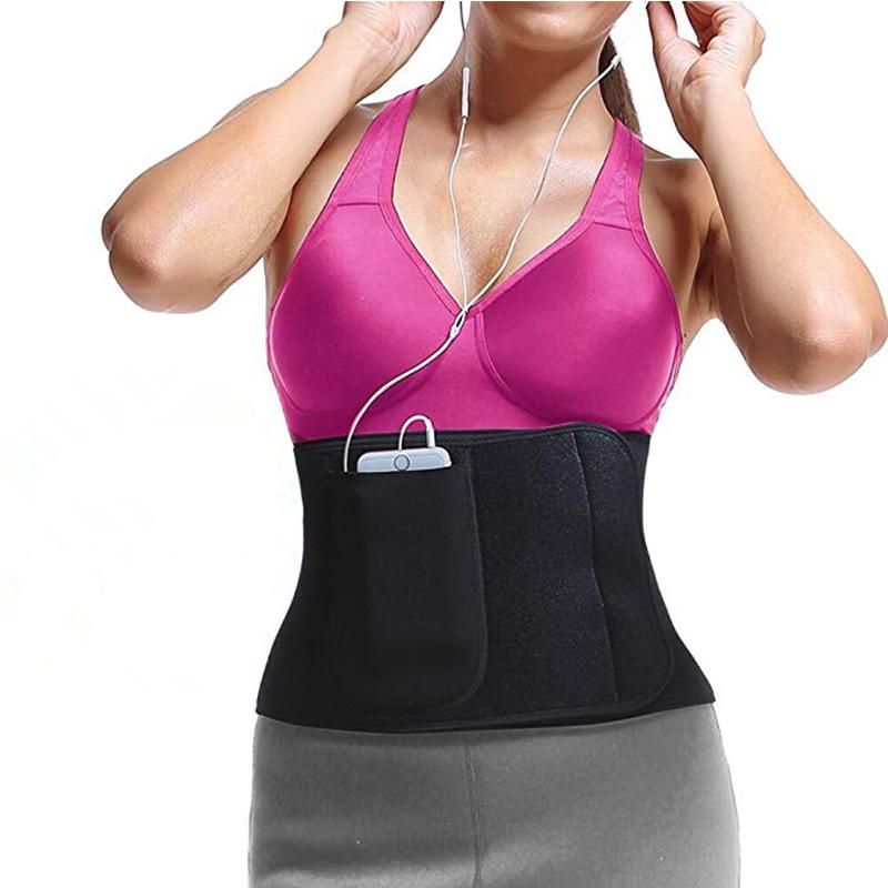 Waist Trainer Belt for Men&Women Slimming Body Shaper Sport Girdle Belt Stomach Fat Burner with Phone Bag