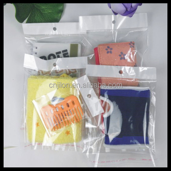 Resealable Poly BOPP Cellophane Bags hanging hole opp bag