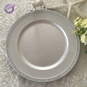 silver decorative hotel cold bead rim round disposable clear bead plastic plates