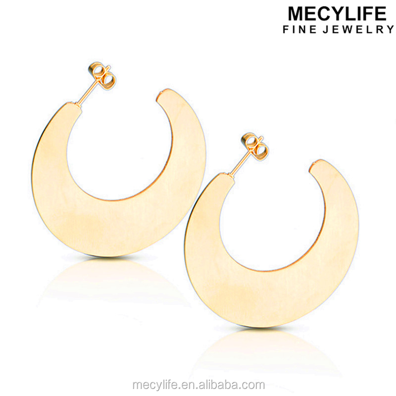 MECYLIFE 2017 Moon Shape Stud Earrings Saudi Gold Jewelry Ring