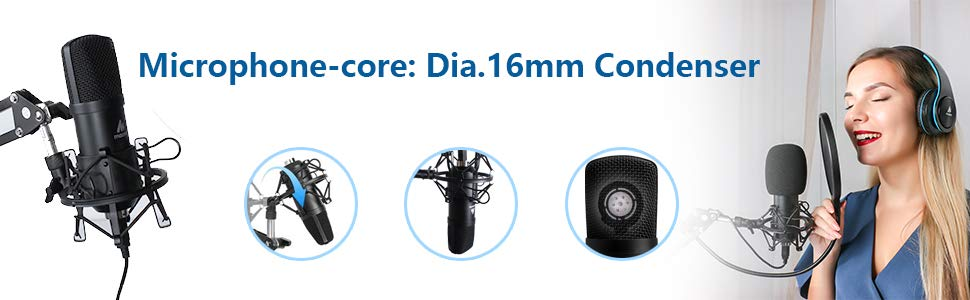 Professional BM 800 192Khz 24bit  plug and play usb computer microphone set for podcast