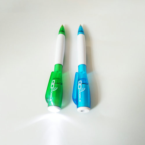 Promotional High Quality Cheap Multi-functional Plastic LED Light Ball Pen With Custom Logos