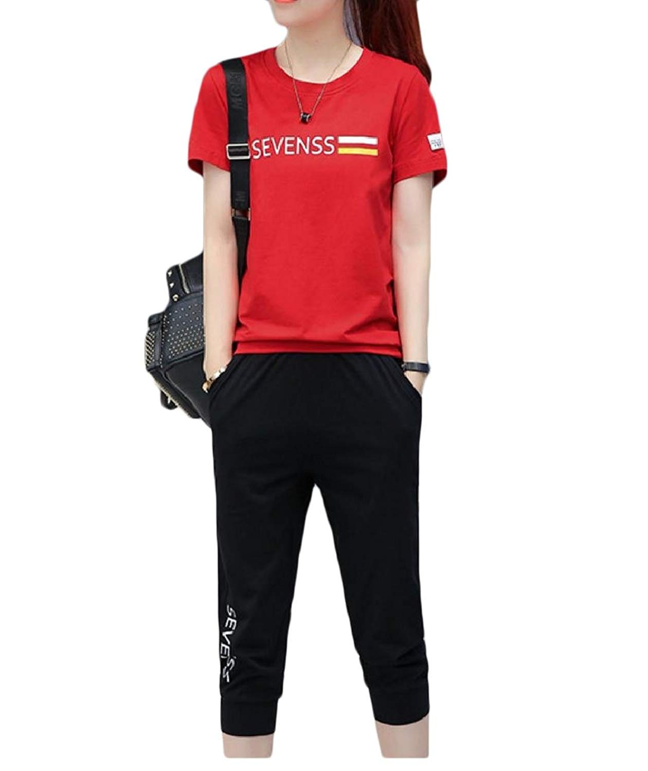 7860c8f31f7 Get Quotations · YUNY Women Outfits Capri Pant Fashion Casual Fitness  Comfortable Tracksuit