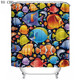 wholesale hot cartoon fish seal waterproof shower curtains fashion finished printed luxury acceptable curtains for the bathroom
