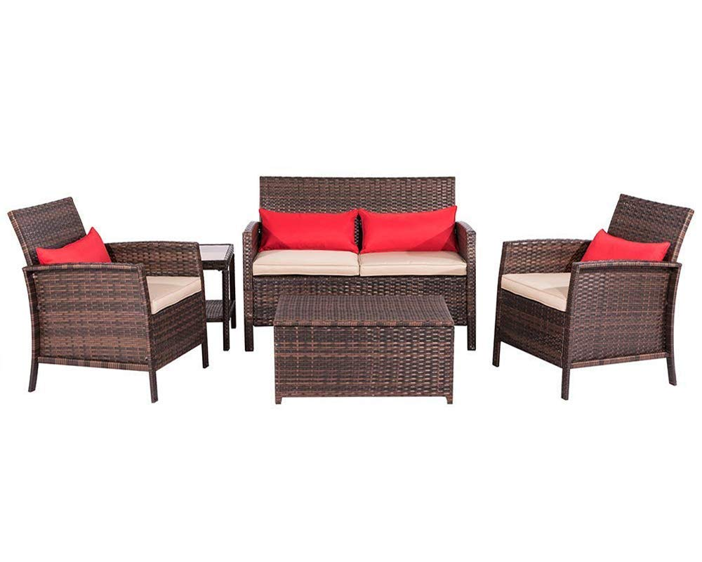 Suncrown Outdoor Patio Furniture 5-Piece Conversation Set All-Weather | Thick, Durable Cushions with Washable Covers | Porch, Backyard, Pool or Garden
