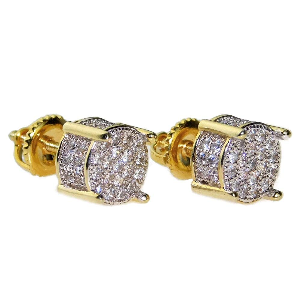 fe8c5086a Mens CZ Micro Pave Earrings Set Two Tone Gold Plated Round Iced-Out  Micropave Screw Back