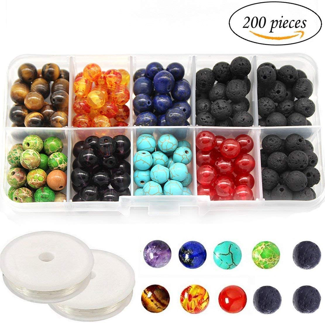 Get Quotations · 8MM Chakra Beads for Jewelry Making and Black Colored Lava  Rock Stone Round Loose Beads Kit 159ec34d774d