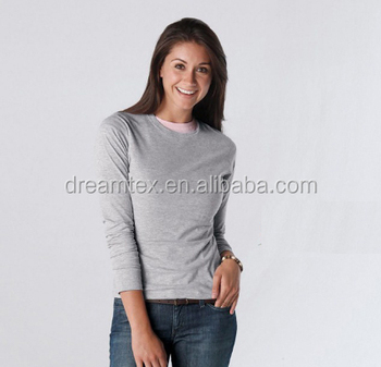 Women Blank Long Sleeve t Shirts With OEM Logo girl sweatshirt long sleeve tee