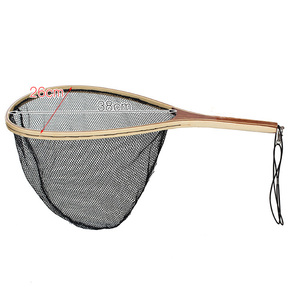 durable wood handle landing net fly fishing landing net nylon material mesh catch and release net
