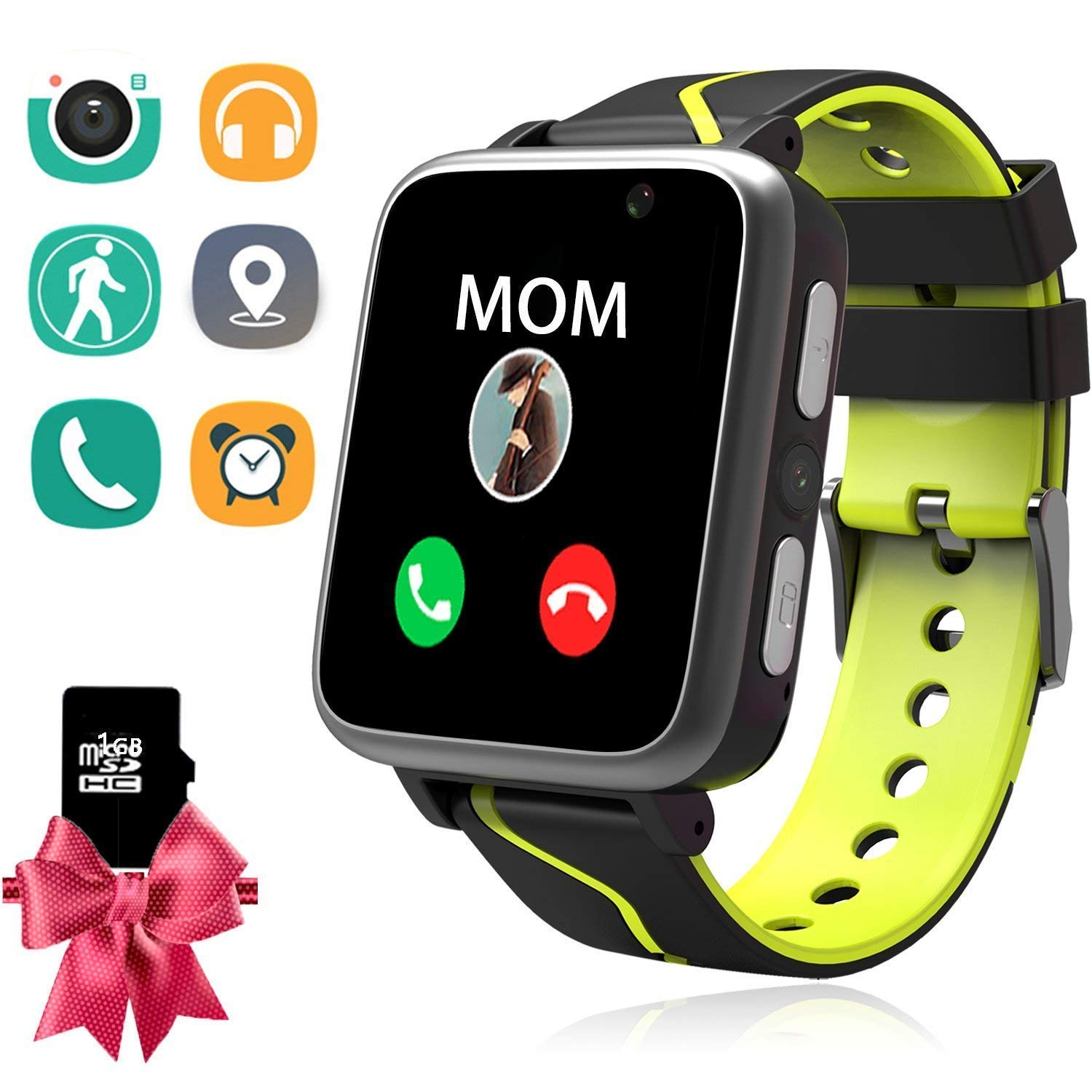 PalmTalkHome Kids MP3 Players Music Watch - Smart Watch with MP3 Music Player [1GB Micro SD Included] FM Pedometer Camera FM SOS Alarm Clock Flashlight for Children Boys Girls Students (Black)