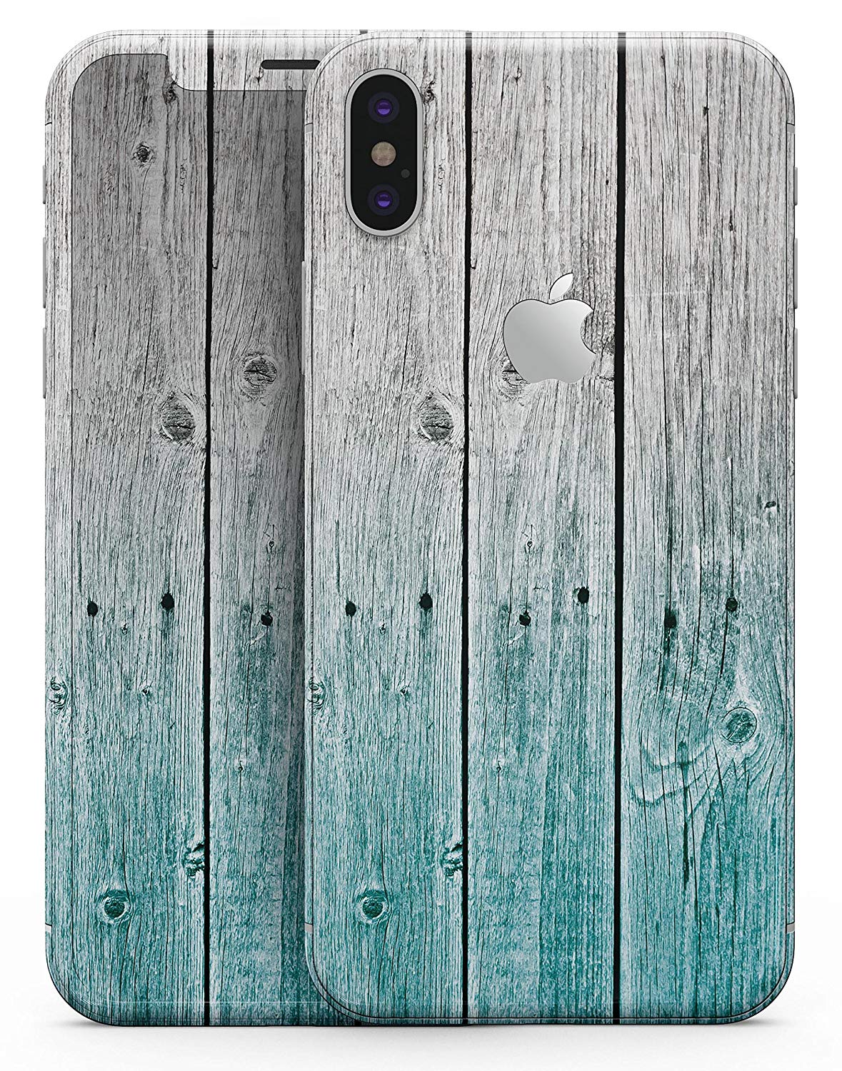 Wood Pattern Design Skinz Premium Full-Body Wrap Decal Skin-Kit for the iPhone 6 Plus - Trendy Teal to White Aged Wood Planks