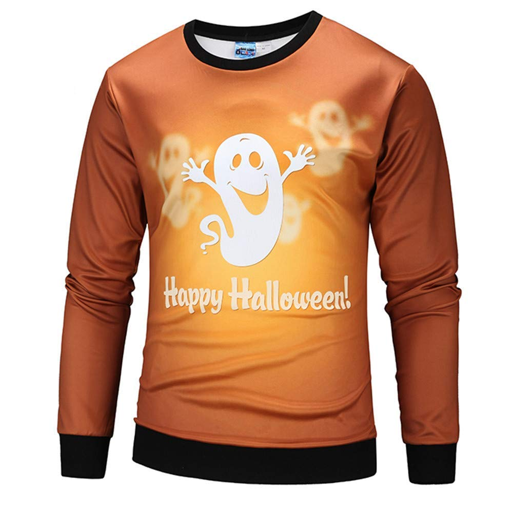 POTO Halloween Sweatshirt,Mens Scary Halloween Pumpkin 3D Print Sweatshirts Jumper Pullover Shirt Tops Blouse
