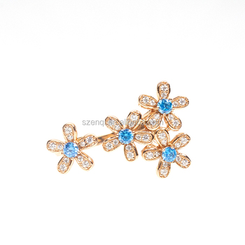 silver 925  gold plated flower rings jewelry women vintage toe fashion finger rings