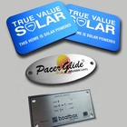 Custom print die cut metal label plate Self adhesive brand name logo stickers Anodised aluminium nameplates