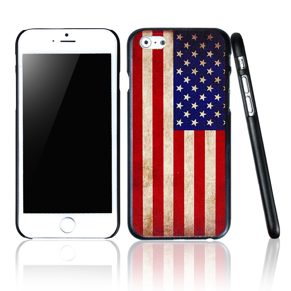 Color Painted USA Flags Pattern Plastic Hard Skin Cover Case For iphone 6 4.7