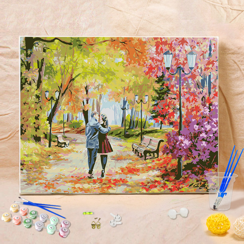 DIY Oil Painting By Numbers Paint On Canvas Wall Pictures For Living Room Wall Art Home Decor wolk on the road