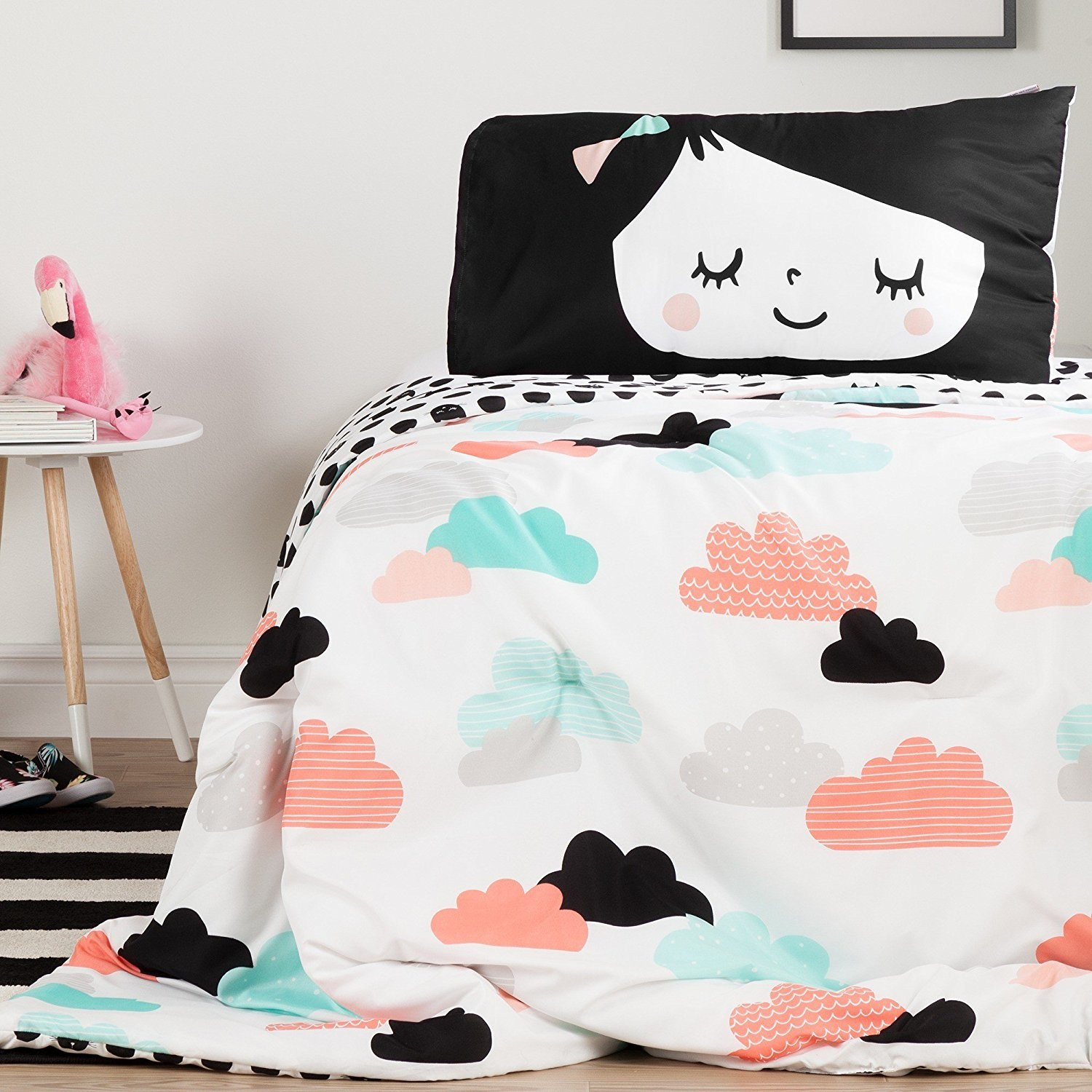 LO 2 Piece Girls Black Pink White Night Garden Cloud Comforter Set Twin, Sky Blue Dark Black Geometric Motif Design Teen Themed Kids Bedding For Bedroom Casual Colorful Contemporary, Polyester