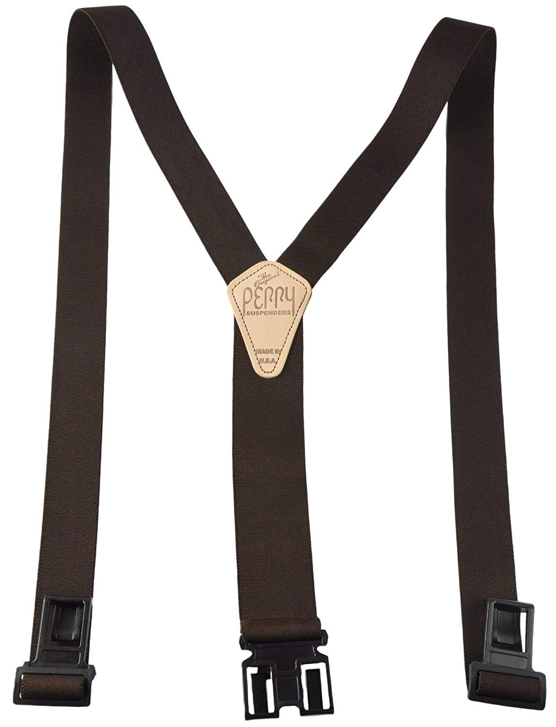 Perry Products SN200 Men's Clip-On 2-in Suspenders(Regular, Brown)