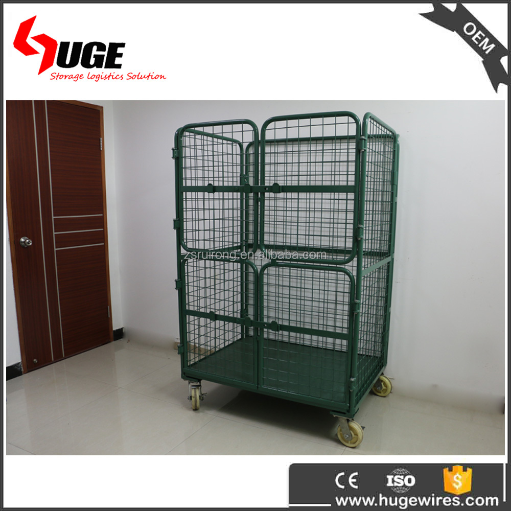 folding welded round metal transparent packaging bin for turnover