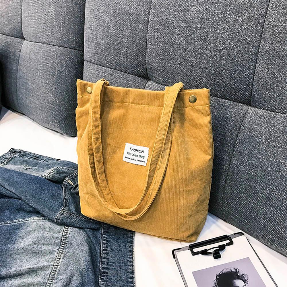 d3c4145f8254 Women Fashion Corduroy Handbag Shoulder Bag Totes Pure Color ...