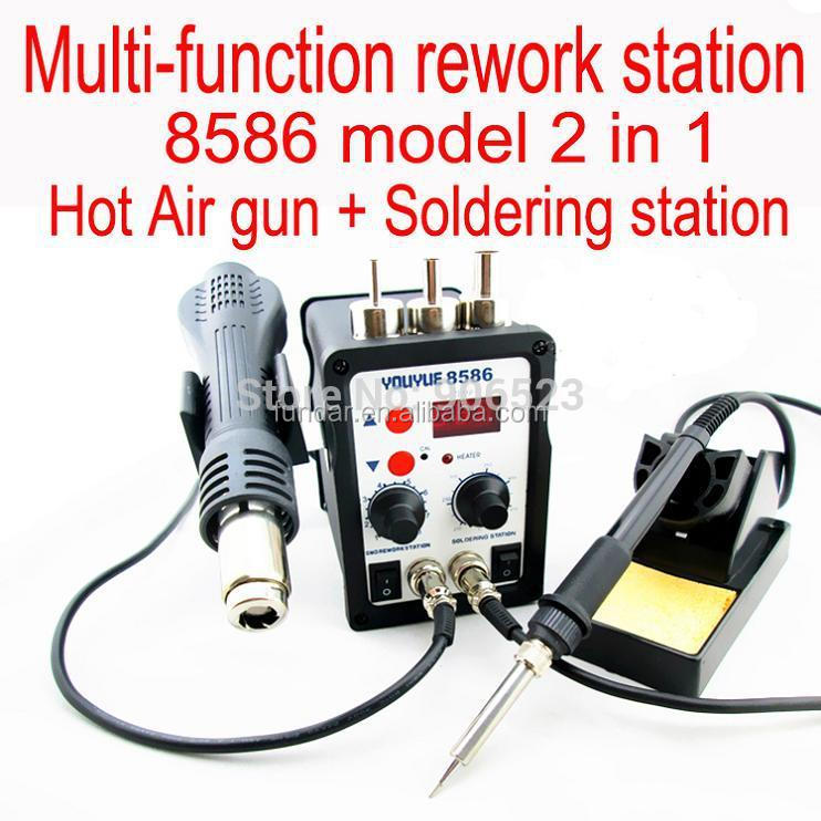 Free shipping 110V/220V YOUYUE 8586 2 in 1 SMD Rework Station Hot Air heat Gun + Solder Iron Same Quality with Atten 8586