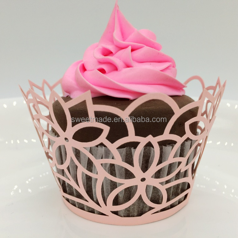 Hot selling wedding party decoration baby shower favor customized favor floral cupcake wrappers