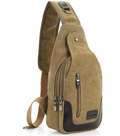 2017 New Casual Men's Canvas PU Leather Solid Multi Pockets Messenger Shoulder Back Day pack Sling Chest pack Bag