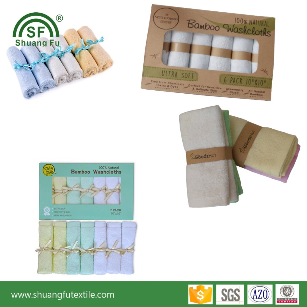 Wholesale customize gift packing 100 organic bamboo baby washcloth for baby