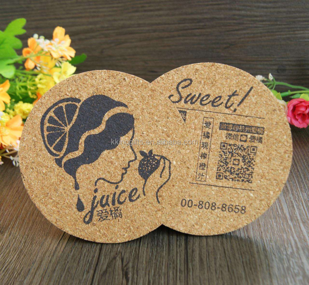 bulk wooden tea Mats / wholesale round beer drink cup Pads / custom round cardboard cork coasters