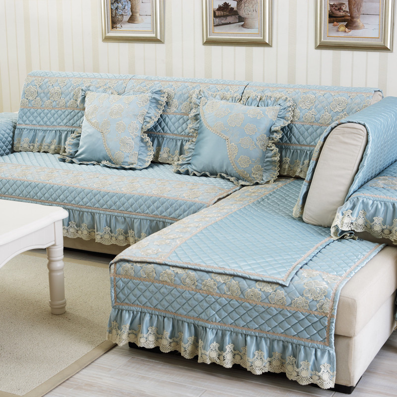 Luxury Polyester Cotton Fabric Sectional Sofa Cover Blue