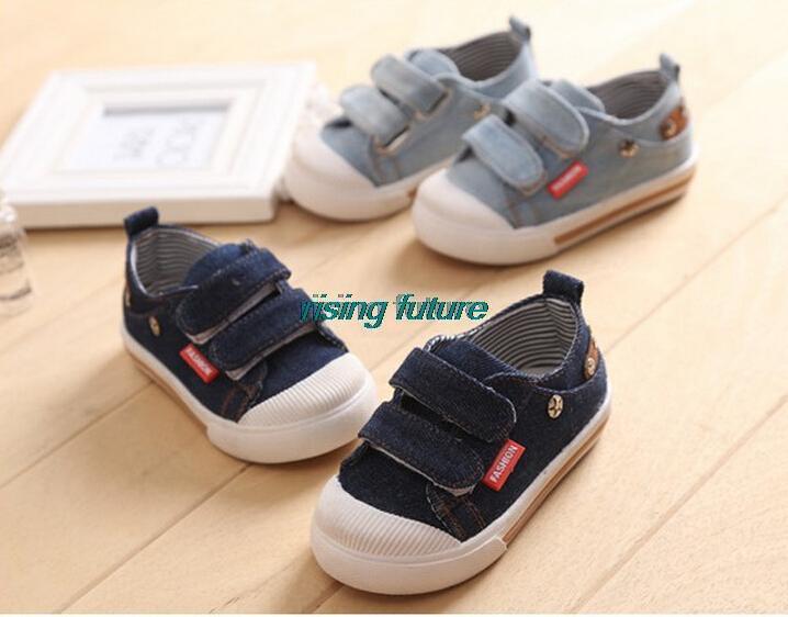 I03 Fashion Denim Girls Boys Shoes Children Casual Canvas Kids Shoes