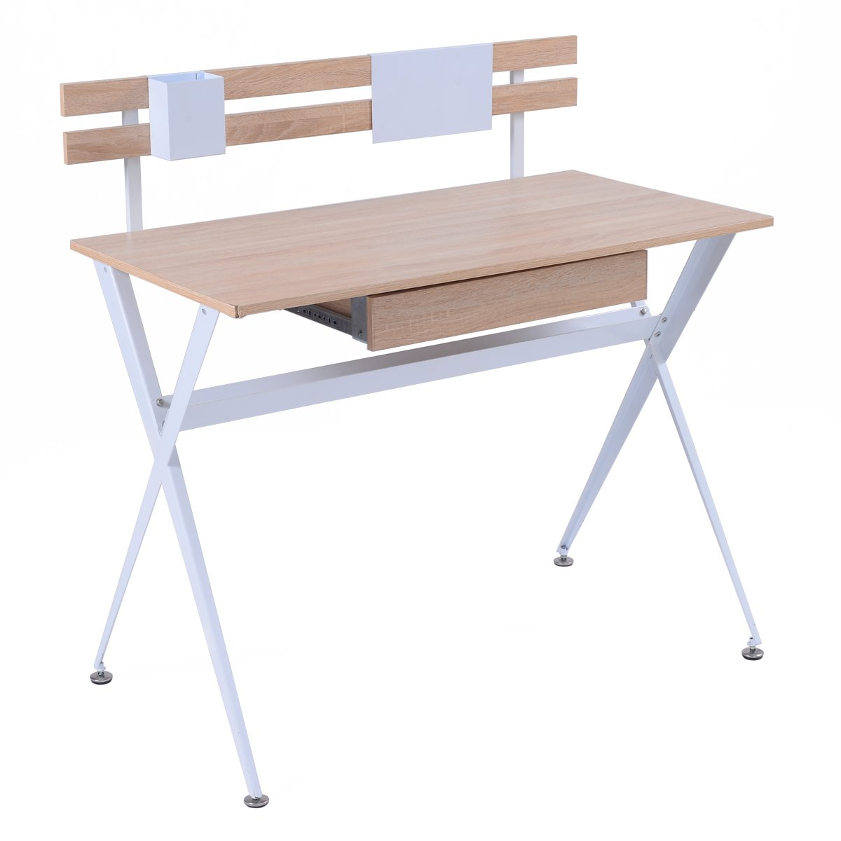Tangkula Computer Desk Wood Top Writing Desk Home Office Furniture Computer Workstation Writing Desk for Home Or Office (White frame)