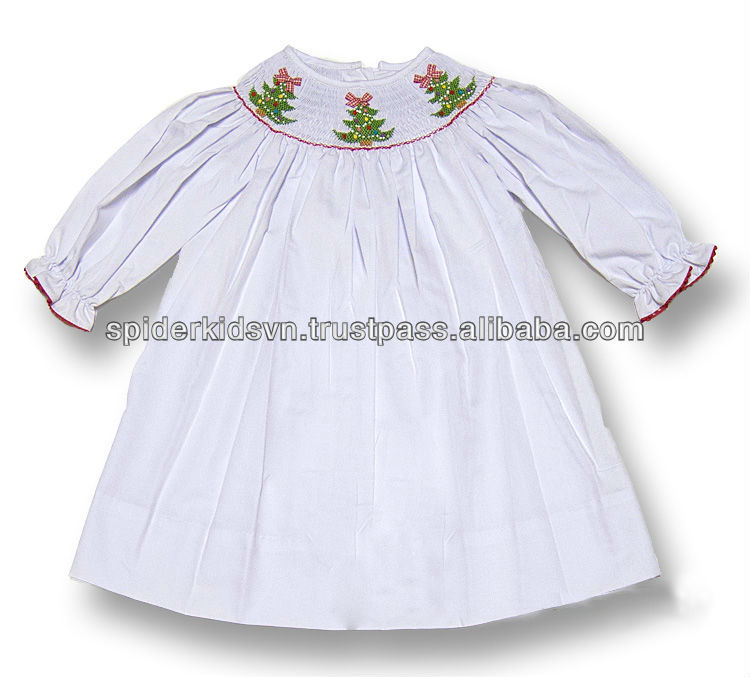 Smocked Christmas Dress.Baby Girls White Smocked Christmas Trees Long Sleeve Dress Buy Baby Smocked Dress White Smocked Dress Baby Girl Christmas Dresses Product On