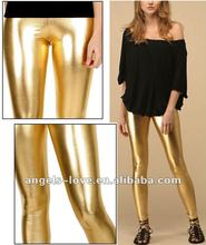 Fashion hotsale damen wet-look goldglänzenden leder-<span class=keywords><strong>leggings</strong></span>